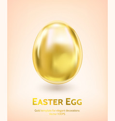 Shiny gold easter egg template vector