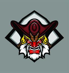 shogun pirates head mascot logo image vector image