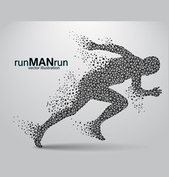 silhouette of a running man from triangle vector image