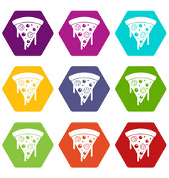 Slice of pizza with salami melted cheese icon set vector