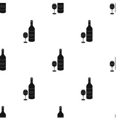 spanish wine bottle with glass icon in black style vector image