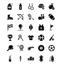 Sports glyph icons set vector