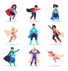 superhero kids boys and girls superhero vector image
