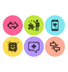 Sync smile and love chat icons set medical chat vector