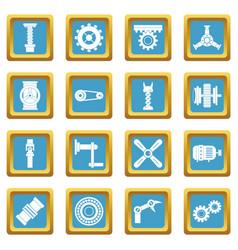 Techno mechanisms kit icons azure vector