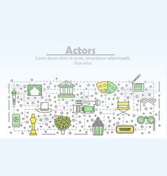 thin line art actors poster banner template vector image