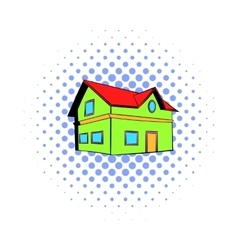 Two-storey house icon comics style vector
