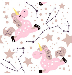 Unicorn pink pattern vector