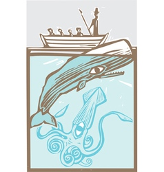 Whaling with Squid vector image