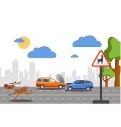 wild deer accident on road vector image