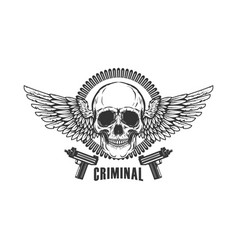 Winged skull with handguns design element for vector