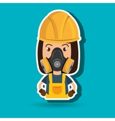 Woman worker mask gas vector