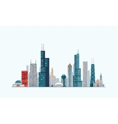 Chicago colorful skyline vector image vector image
