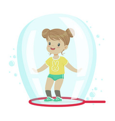 cute little girl standing inside soap bubble vector image