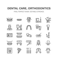 dentist orthodontics line icons dental equipment vector image vector image