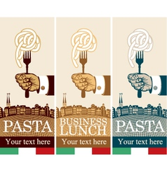 pasta on fork vector image vector image