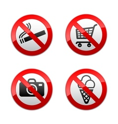 set prohibited signs - supermarket symbols vector image vector image