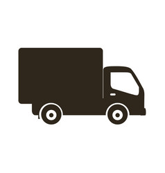 silhouette transport truck with wagon icon flat vector image