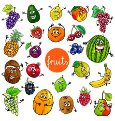 cartoon fruits characters collection vector image