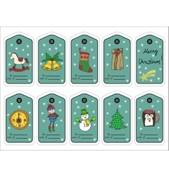 Christmas gift tags stikers and labels vector image
