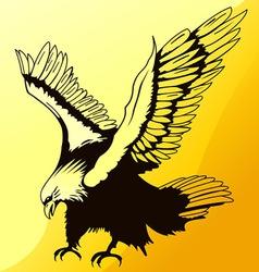 landing eagle silhouette vector image vector image