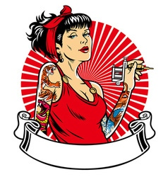 tattoo girl with blank banner for text space vector image