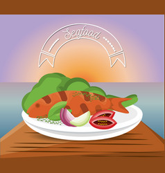 delicious grilled fish menu restaurant vector image vector image