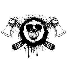 grunge skull with axes 2 vector image