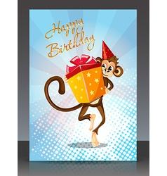 Happy Birthday with monkey gift vector image vector image