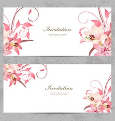 invitation cards with a pink lily for your design vector image vector image