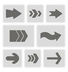 monochrome icons with arrow symbols vector image