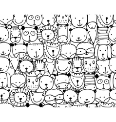 Set of animal faces sketch for your design vector image vector image