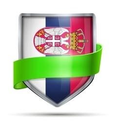Shield with flag Serbia and ribbon vector image vector image