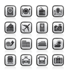 transportation and vacation icons vector image vector image