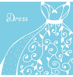 Wedding invitation with dress vector image