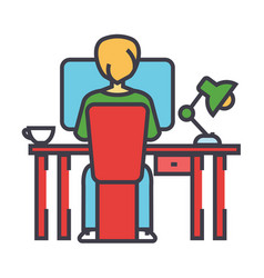 young man working on computer sitting behind the vector image