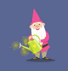 cute dwarf gardener in pink clothes standing and vector image vector image