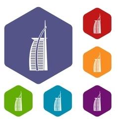 Hotel Burj Al Arab icons set vector image