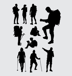 Male and female hiker silhouettes vector