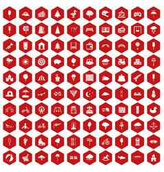 100 childrens park icons hexagon red vector