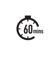 60 minutes timer stopwatch or countdown icon time vector