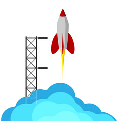 A rocket flying into space starting or starting vector