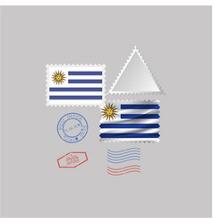 A set stamps with image flag uruguay vector