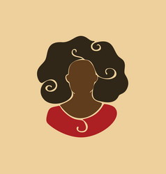 abstract african woman portrait with curly hair vector image