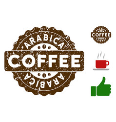 Arabica badge stamp with scratched effect vector
