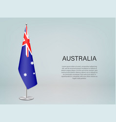 Australia hanging flag on stand template vector