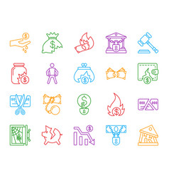 bankruptcy simple color line icons set vector image