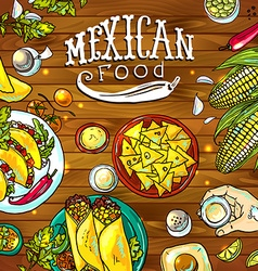 Beautiful hand drawn mexican food on wood vector
