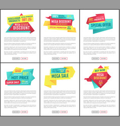 big sale mega discount and hot price page sample vector image