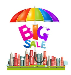 Big Sale Title with Colorful Parasol - Umbrella vector image
